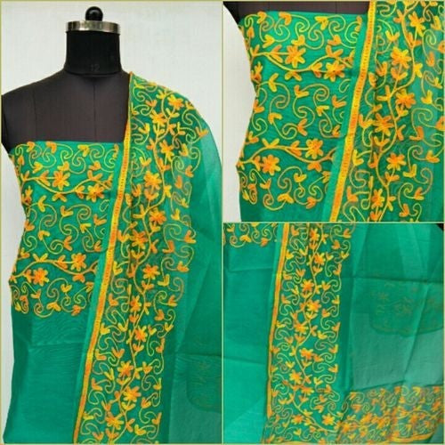 Aari Yellow & Aquamarine Suit Material - Indianloom