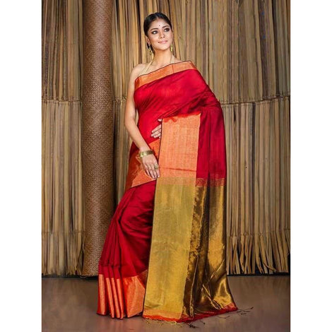 Red Banarasi Nimzari Saree