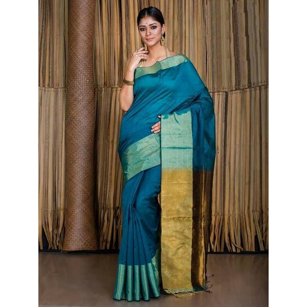 Peacock Blue Banarasi Nimzari Saree - Indianloom