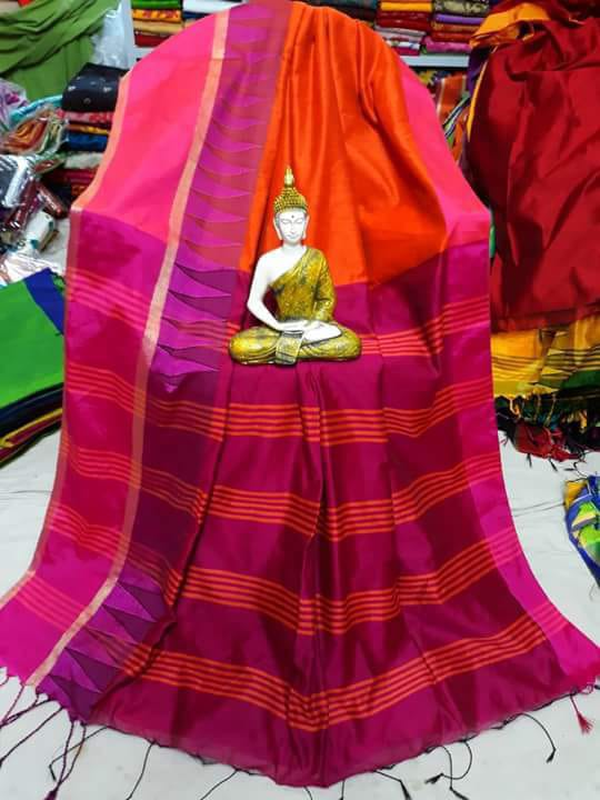 Cotton by Khadi Saree with Temple Border