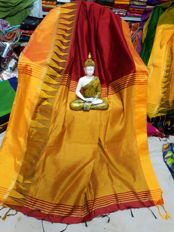 Cotton by Khadi Saree with Temple Border - Indianloom