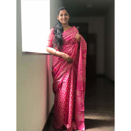 Printed Pink Chanderi Saree