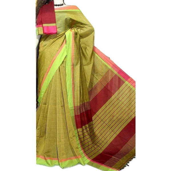 Green Cotton by Khadi Saree - Indianloom