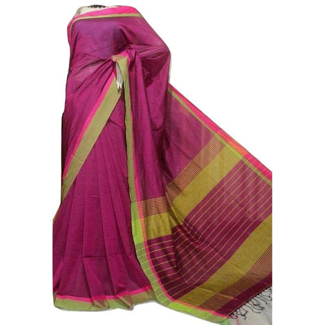 Magenta Cotton by Khadi Saree