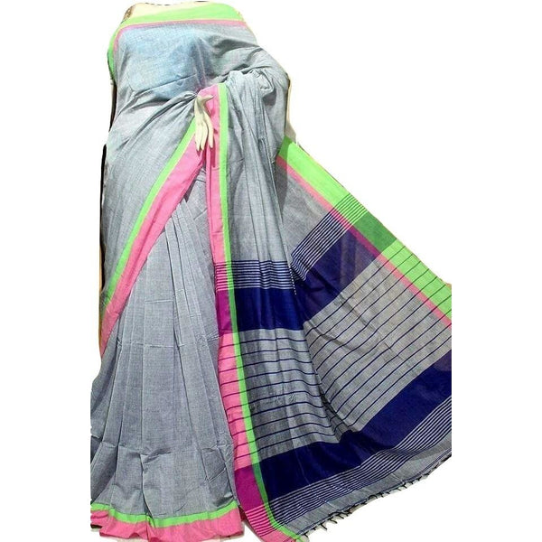 Grey Cotton by Khadi Saree - Indianloom