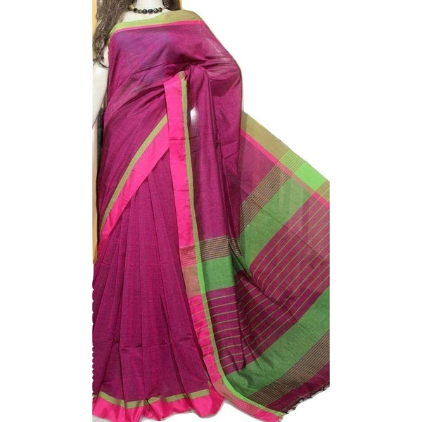 Magenta Cotton by Khadi Saree - Indianloom