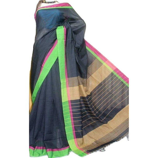 Blue Cotton by Khadi Saree - Indianloom