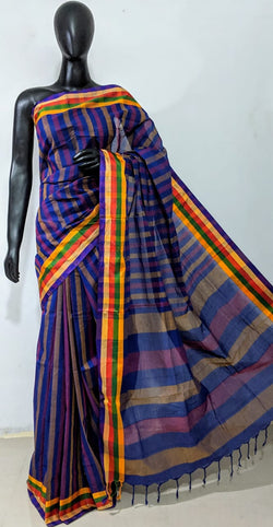 Blue Cotton Saree - Indianloom