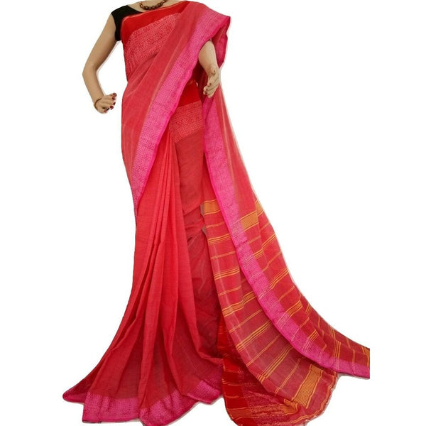 Red Cotton Saree - Indianloom