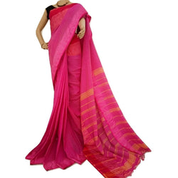 Pink Cotton Saree - Indianloom