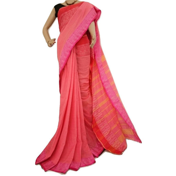 Peach Cotton Saree - Indianloom