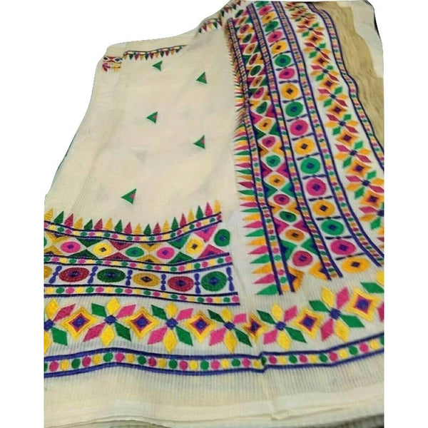 Pure Handloom Cotton Saree with Kachi Work on Bangladeshi Tant - Indianloom