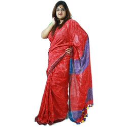 Red Striped Cotton Saree with Red & Purple Pallu