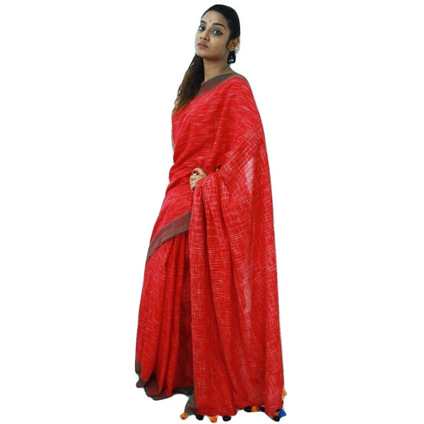 Red Striped Cotton Saree