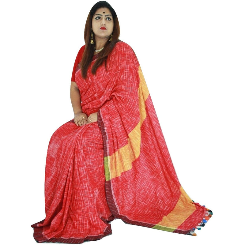 Red Striped Cotton Saree with Red & Yellow Pallu