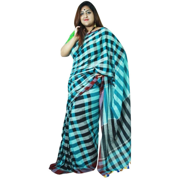 Black & Blue Chequered Cotton Saree - Indianloom