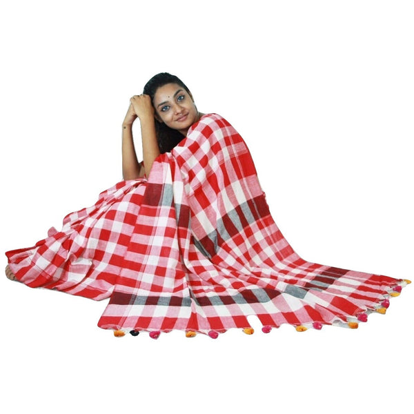 Red & White Chequered Cotton Saree - Indianloom