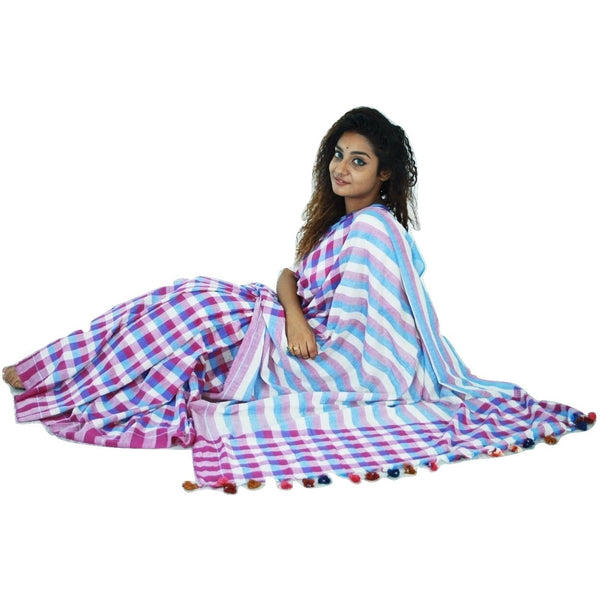 Blue & White Chequered Cotton Saree - Indianloom