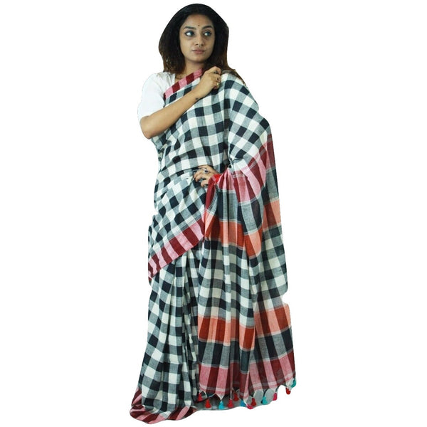 Black & White Chequered Cotton Saree - Indianloom