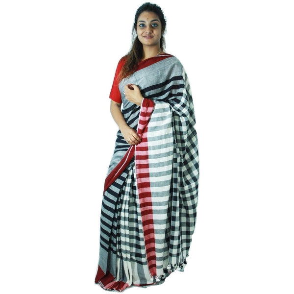 Black & Grey Chequered Cotton Saree with Lines - Indianloom