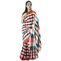 Black & Brown Chequered Cotton Saree - Indianloom