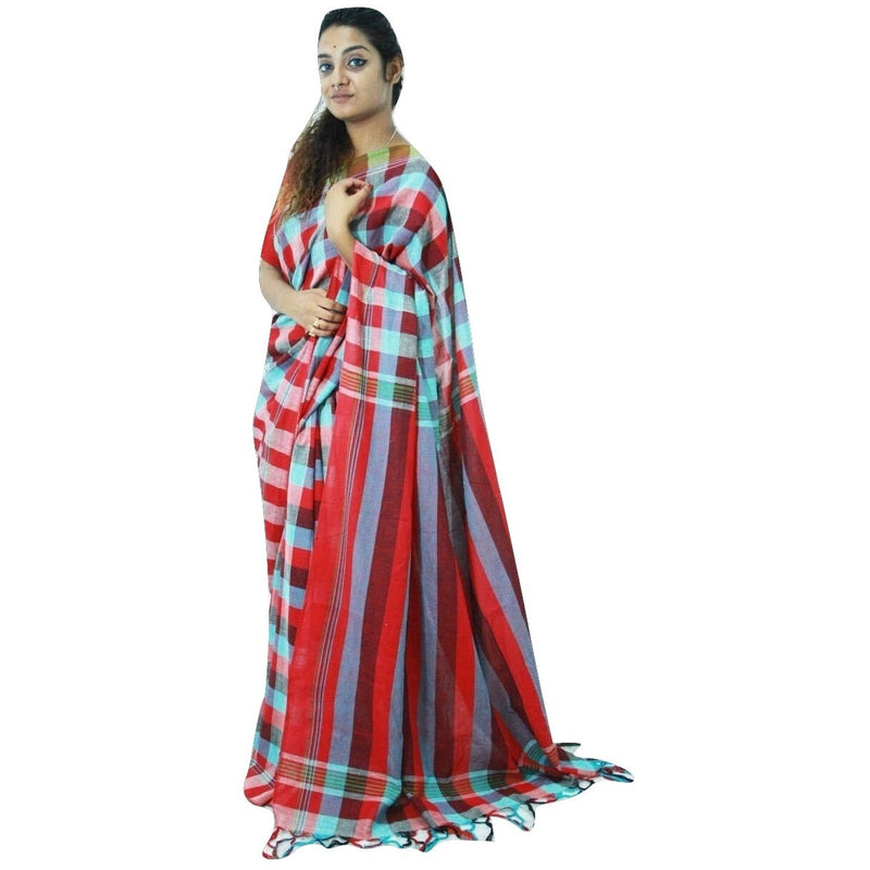 Multicolor Chequered Cotton Saree - Indianloom