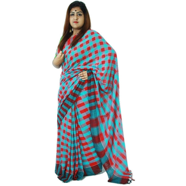 Red & Blue Chequered Cotton Saree - Indianloom
