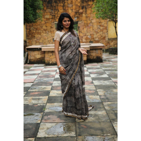 Brown Chanderi Saree with Dabu Print