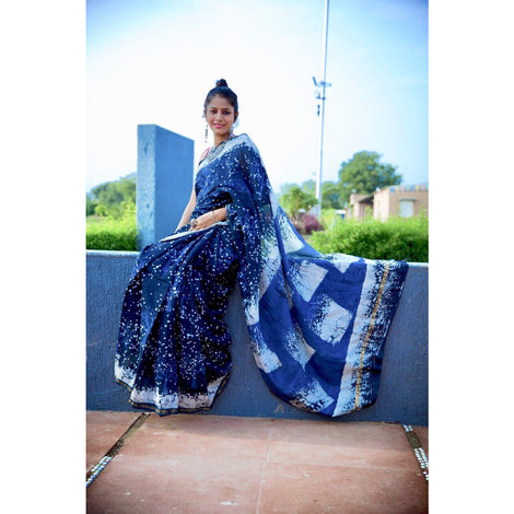 Indigo Chanderi Saree with Dabu Print