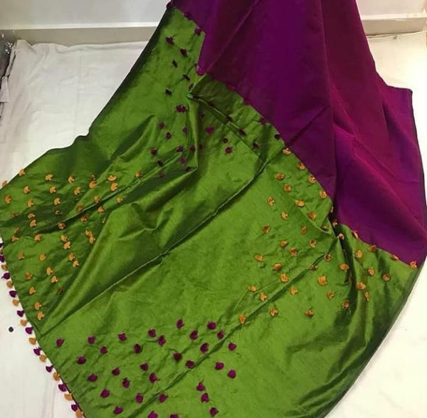 Cotton and Silk Mixed Saree with Pom Poms - Indianloom
