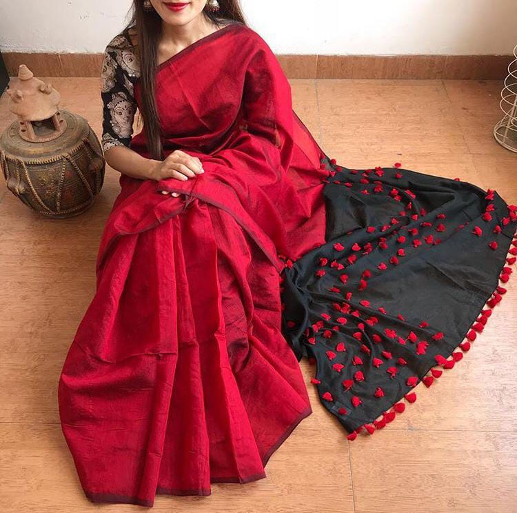 Red & Black Cotton and Silk Mixed Saree with Pom Poms