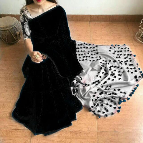 Black & Grey Cotton and Silk Mixed Saree with Pom Poms - Indianloom