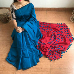 Blue & Red Cotton and Silk Mixed Saree with Pom Poms - Indianloom
