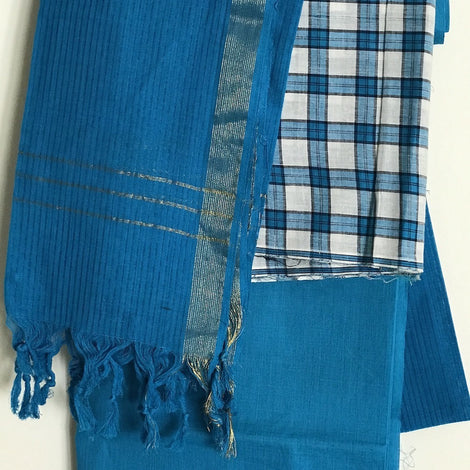Blue Chequered Cotton Salwar Suit Material - Indianloom