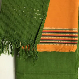 Mustard Top with Green Pants Salwar Suit Material - Indianloom
