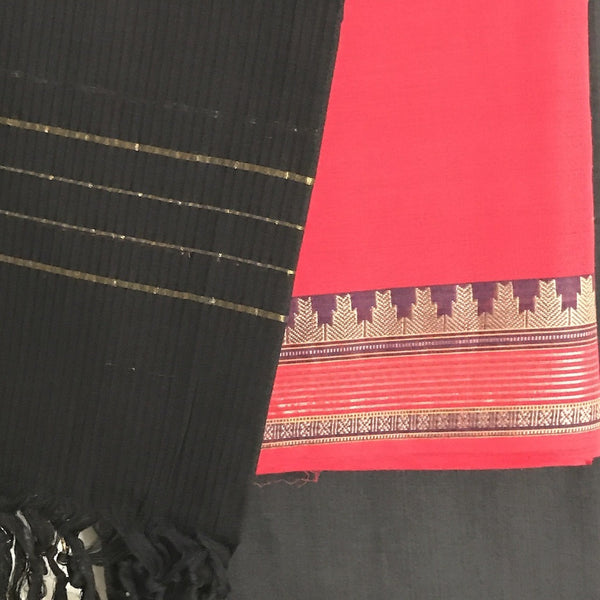 Red Cotton Salwar Suit Material - Indianloom