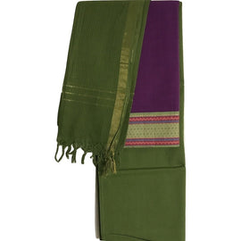 Purple with Green Border Cotton Salwar Suit Material - Indianloom