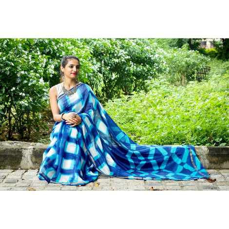 Blue Tie & Dye Chanderi Saree
