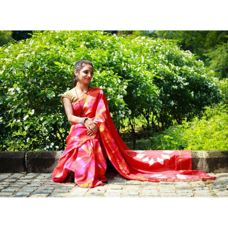 Red Tie & Dye Chanderi Saree