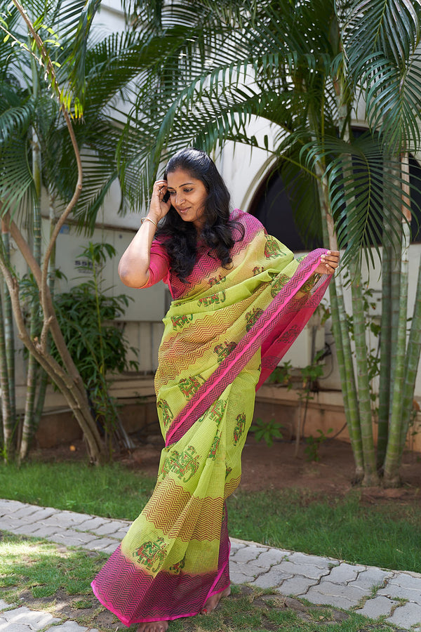 Printed Kota Saree - Indianloom