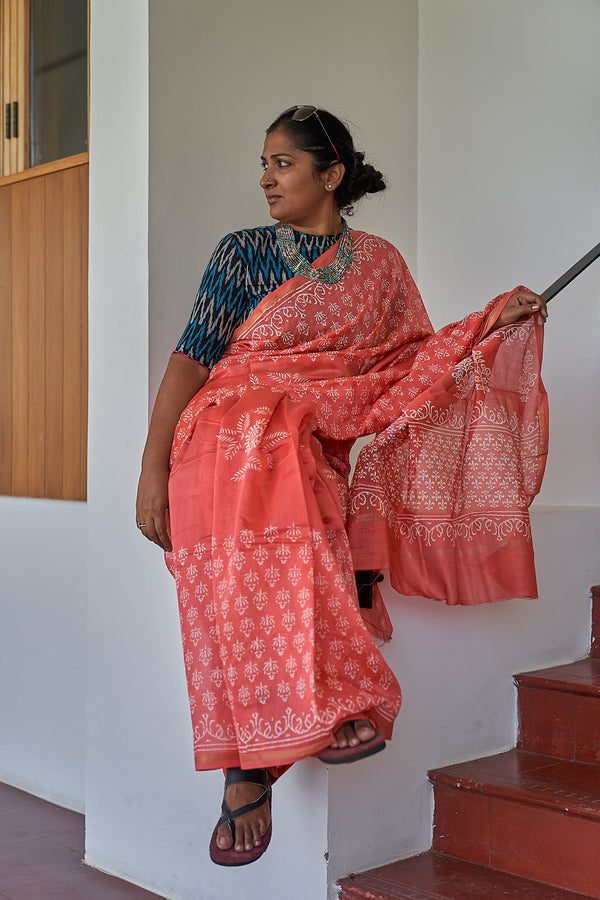 Chanderi Silk Saree - Indianloom