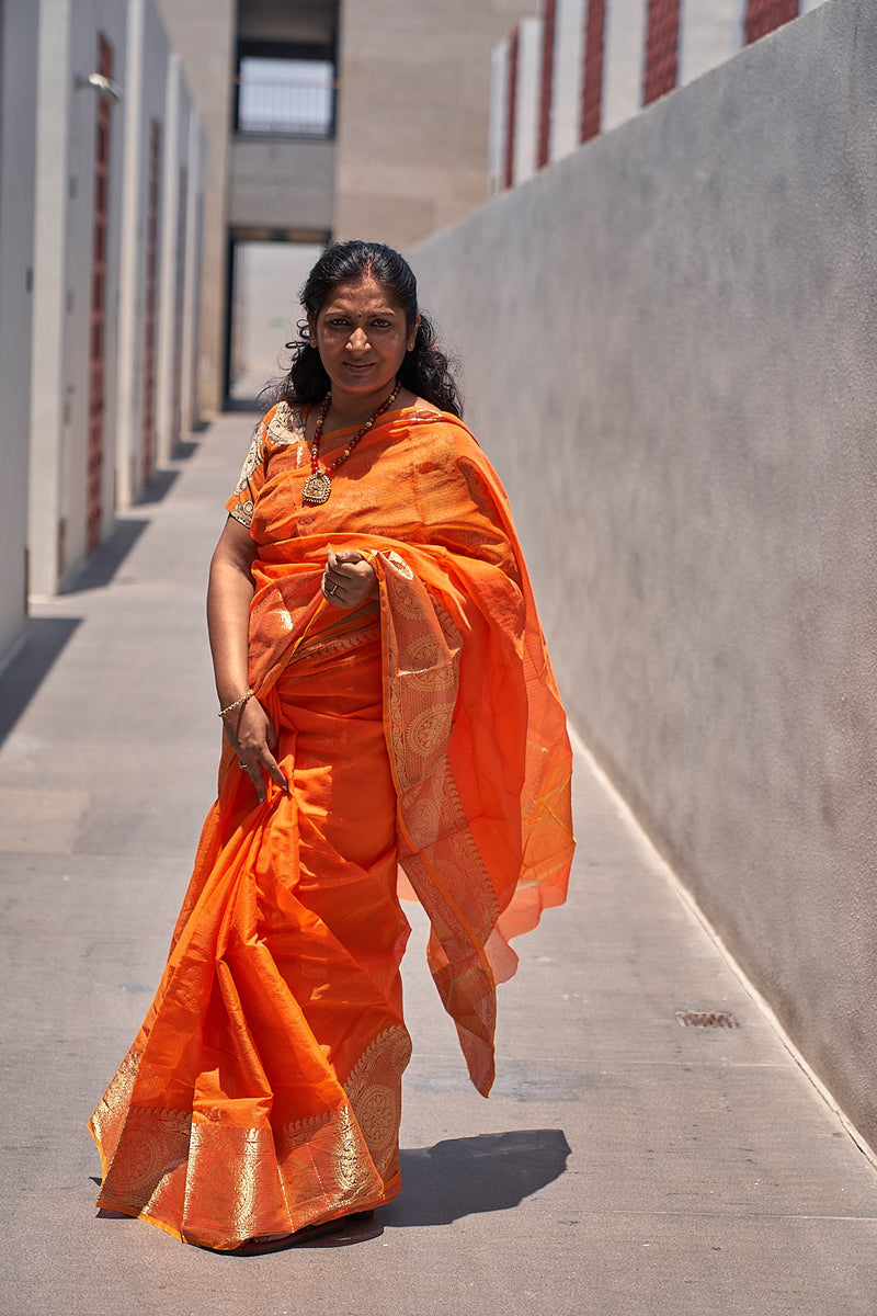 Orange Kota Saree with Zari Border - Indianloom