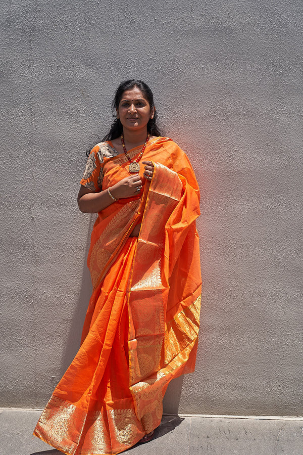Kota Saree with Gold Border - Indianloom