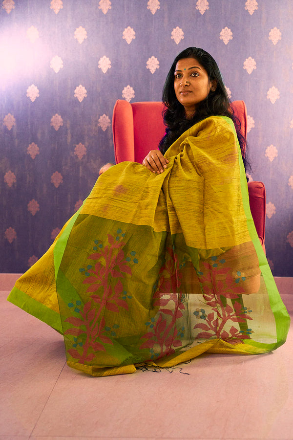 Yellow Matka Silk Saree with Jamdani Work