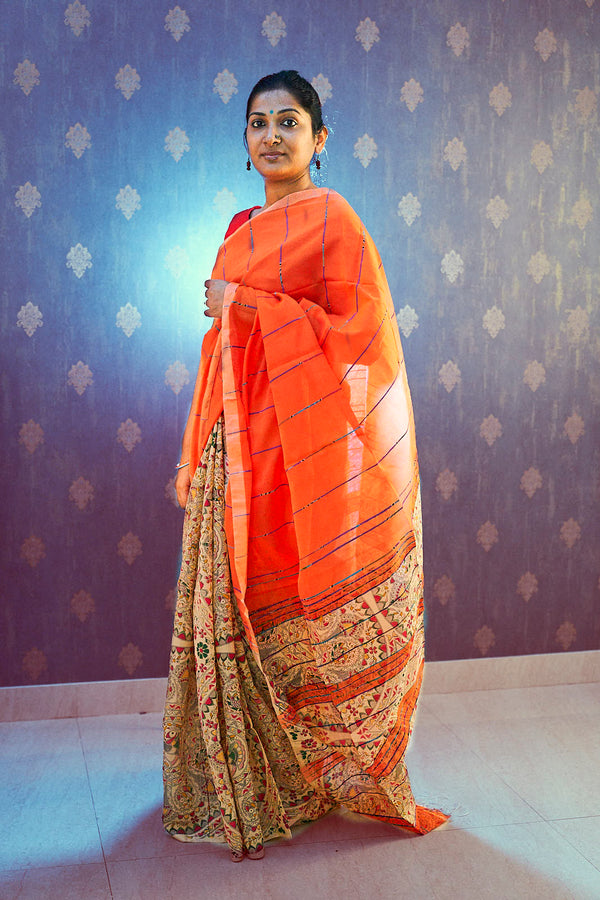 Orange Khes Cotton Silk Partly Saree - Indianloom
