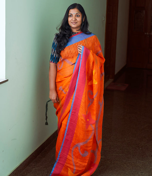Orange Linen Saree with Jamdani Work - Indianloom
