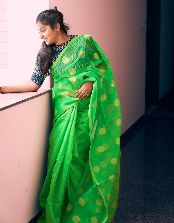 Green Resham Work Saree - Indianloom