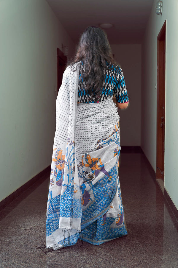 Printed Cotton Silk Saree - Indianloom