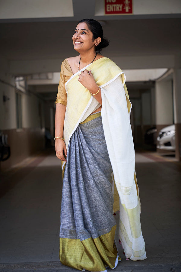 Ivory & Grey Linen Saree with Zari Border & Pallu - Indianloom