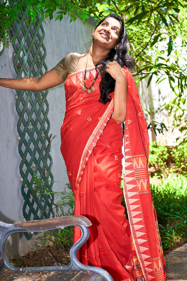 Red Kachol Khadi Saree